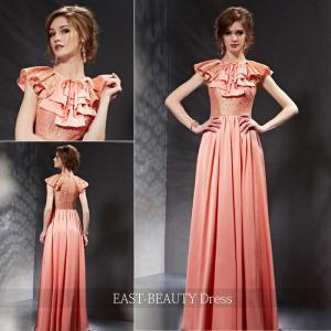 ロングドレス / 演奏会ドレス カラードレス 声楽・ピアノコンサート パーティー 結婚式 / フリル ピンク|east-beauty