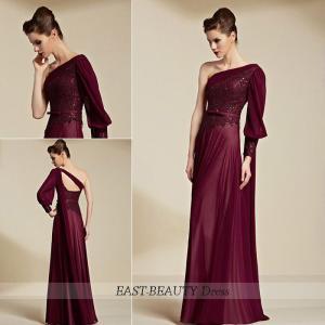 ロングドレス / 演奏会用ドレス 声楽 ステージドレス パーティードレス / 長袖付き ワンショルダー|east-beauty