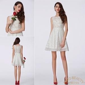ショートドレス / ミニ丈ドレス パーティードレス ワンピース 高級ドレス / ノースリーブ Aライン ミニ丈 east-beauty