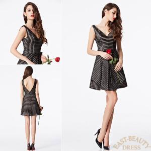 ショートドレス / ミニ丈ドレス パーティードレス ワンピース 高級ドレス / ストライプデザイン デコルテVカット east-beauty