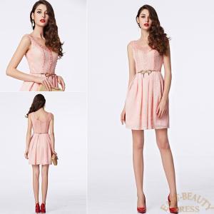ショートドレス / ミニ丈ドレス パーティードレス ワンピース 高級ドレス / ピンク ふんわりミニ丈スカート east-beauty