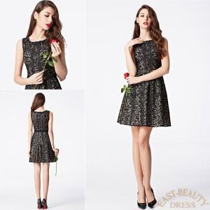 ショートドレス / ミニ丈ドレス パーティードレス ワンピース 高級ドレス / 黒色レース Aライン east-beauty