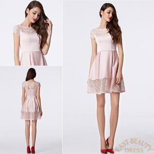 ショートドレス / ミニ丈ドレス パーティードレス ワンピース 高級ドレス / ピンク 半袖付ドレス east-beauty