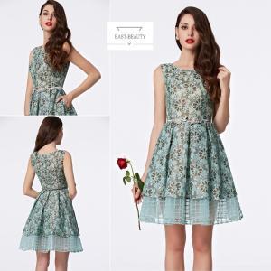 ショートドレス / ミニ丈ドレス パーティードレス ワンピース 高級ドレス / 花刺繍 水色 Aラインドレス east-beauty