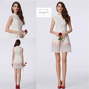 ショートドレス / ミニ丈ドレス パーティードレス ワンピース 高級ドレス / 襟付き 立体花デコ 白色 タイトライン east-beauty