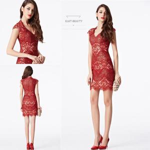 ショートドレス / ミニ丈ドレス パーティードレス ワンピース 高級ドレス / Vネック タイトラインスカート east-beauty