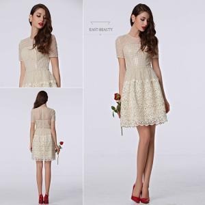 ショートドレス / ミニ丈ドレス パーティードレス ワンピース 高級ドレス / 袖付き ホワイト 白色 ショートドレス east-beauty