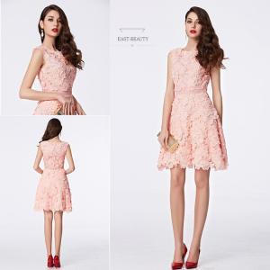ショートドレス / ミニ丈ドレス パーティードレス ワンピース 高級ドレス / 立体刺繍 ピンク色 Aライン east-beauty