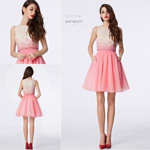 ショートドレス / ミニ丈ドレス パーティードレス ワンピース 高級ドレス / ふんわりチュール ノースリーブ east-beauty