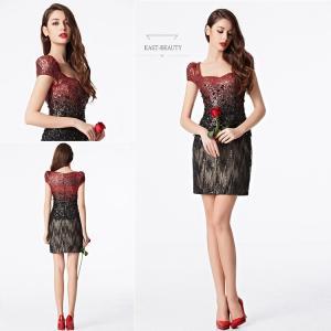 ショートドレス / ミニ丈ドレス パーティードレス ワンピース 高級ドレス / フレンチスリーブ風 セクシードレス east-beauty