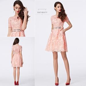 ショートドレス / ミニ丈ドレス パーティードレス ワンピース 高級ドレス / 半袖付 ピンク色ドレス east-beauty