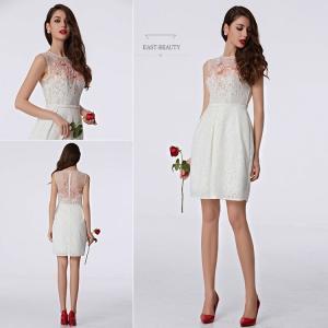 ショートドレス / ミニ丈ドレス パーティードレス ワンピース 高級ドレス / タイトライン セクシー ホワイトドレス east-beauty