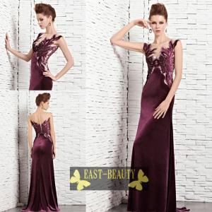 ロングドレス / 高級ロングドレス カラードレス パーティードレス 演奏会用ロングドレス / パープル 高貴なドレス|east-beauty