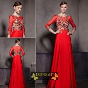 ロングドレス / 高級ドレス 演奏会 発表会 コンサート ステージ衣装 パーティードレス / 袖付き 赤ドレス ゴージャス刺繍|east-beauty
