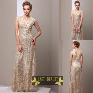 ロングドレス / 大きいサイズあり 演奏会用ロングドレス ステージドレス パーティードレス / ゴールド スパンコール スレンダードレス|east-beauty
