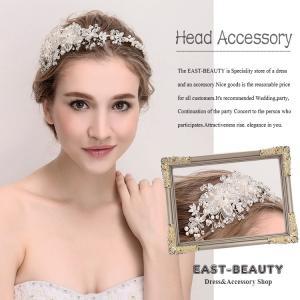 ヘッドドレス ヘアアクセサリー カチューシャ型 ウェディング 結婚式 披露宴 二次会 パーティー 花嫁ヘア k-h-613|east-beauty
