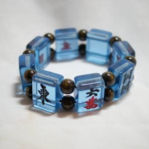 麻雀牌ブレスレット 大・透明青色牌