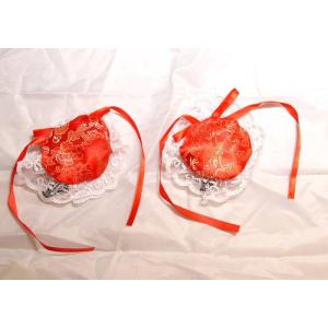 サテンお団子 髪飾りカバー(レース、ヘアクリップ付き) 2個1セット 赤色【種類=3色】