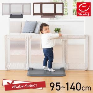 ベビーゲート おくだけとおせんぼ Mサイズ ライトグレードット/ブラウン 日本育児(送料無料)|ebaby-select