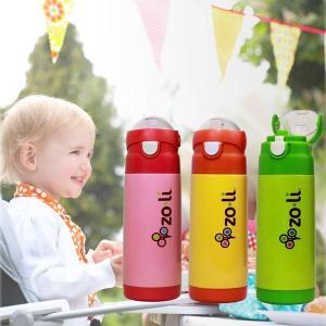 ZoLi(ゾリ) ステンレススチール製 ストロー付き 水筒 クーラーボトル オレンジ/グリーン|ebaby-select