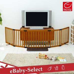 おくだけとおせんぼ スマートワイドWoody ブラウン 日本育児 置くだけ パーテーション(送料無料)|ebaby-select