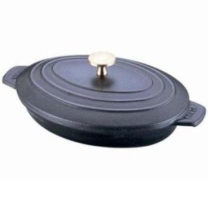ストウブ オーバルホットプレート IH対応 蓋付 両手鍋 23cm 40509-582(ブラック)