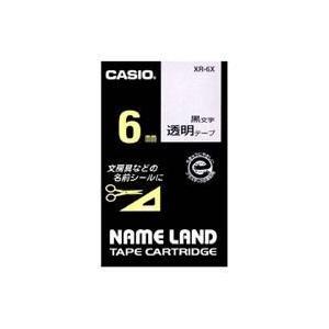 CASIO XR-6X ネームランド 透明テープ 黒文字 6mm