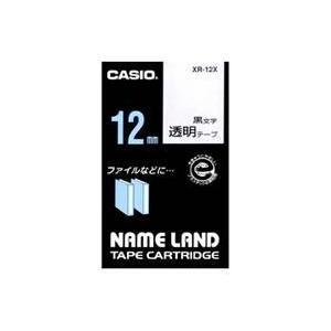 CASIO XR-12X ネームランド 透明テープ 黒文字 12mm