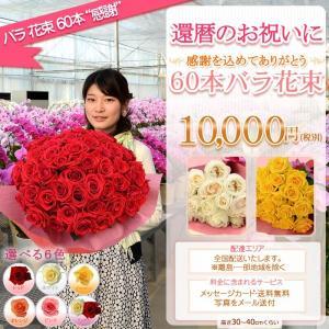 バラ 花束 60本 10000円(税別)全国お届け バラ花束 還暦祝い 記念日 誕生日 プロポーズ 結婚 還暦を祝う60本【rose】|ebina-youran|02