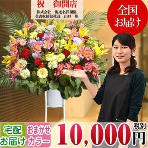 スタンド花 開店祝い 花 全国に宅配でお届け。一部除く 豪華1段スタンド花 10,000円(税別) 高さ160〜170cm位 立札無料【stta】|ebina-youran