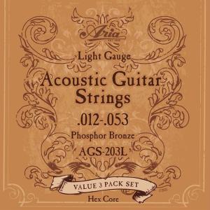 ARIA アリア アコースティックギター弦 AGS-203L 〔3セットパック〕 【ネコポス ポスト投函】【代引は送料¥240追加】