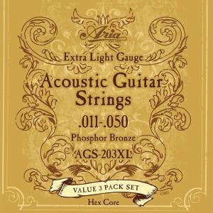 ARIA アリア アコースティックギター弦 AGS-203XL 〔3セットパック〕 【ネコポス(旧速達メール便)送料230円】|ebisound