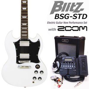 エレキギター初心者セット ZOOM G1XFour付BSG-STD/WH タイプ Blitz エレキギター入門18点セット|ebisound