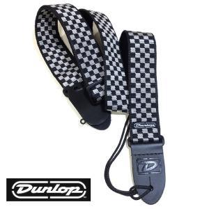 Dunlop ダンロップ ストラップ D38-31BK B&W CHECK ブラック ホワイト チェック|ebisound
