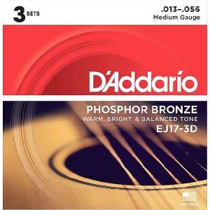 D'Addario ダダリオ アコースティックギター弦 EJ-17 3D 〔3セットパック〕 【ネコポス(旧速達メール便)送料230円】|ebisound