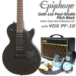 エピフォン Epiphone Goth Les Paul-Studio Pitch Black エレキギター 初心者 入門15点セット VOXアンプ付き|ebisound
