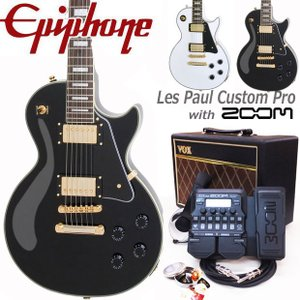 Epiphone エピフォン Les Paul Custom Pro VOXアンプ付 レスポール カスタム 初心者セット18点 ZOOM G1XFour付き|ebisound