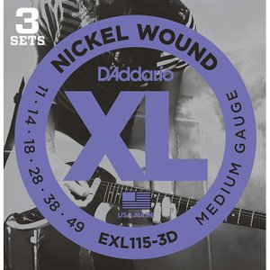 D'Addario ダダリオ エレキギター弦 EXL-115-3D 〔3セットパック〕 【ネコポス(旧速達メール便)送料230円】|ebisound