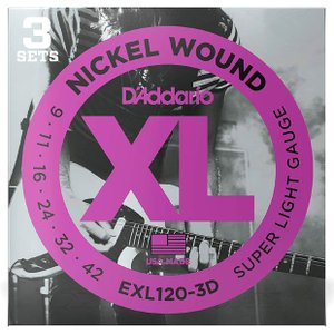 D'Addario ダダリオ エレキギター弦 EXL-120-3D 〔3セットパック〕 【ネコポス(旧速達メール便)送料230円】|ebisound