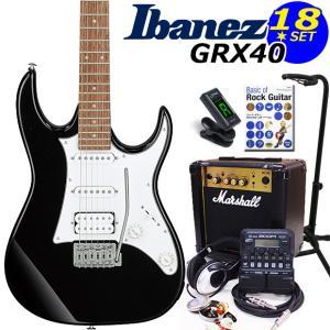 Ibanez アイバニーズ GRX40 BKN エレキギター マーシャルアンプ付 初心者セット18点 ZOOM G1on付き|ebisound