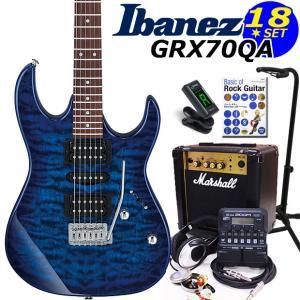 Ibanez アイバニーズ GRX70QA TBB エレキギター マーシャルアンプ付 初心者セット18点 ZOOM G1on付き|ebisound