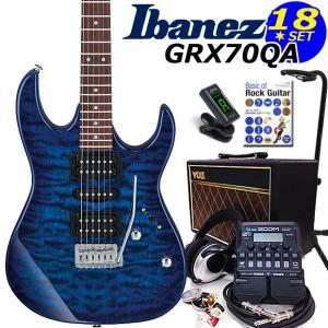 Ibanez アイバニーズ GRX70QA TBB エレキギター 初心者セット16点 VOXアンプ ZOOM G1on付き
