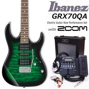 Ibanez アイバニーズ GRX70QA TEB エレキギター 初心者セット18点 ZOOM G1Xon付き|ebisound