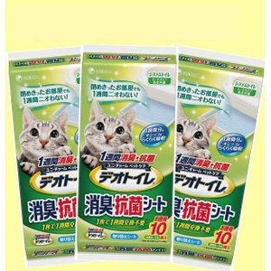 【3個セット】1週間消臭・抗菌デオトイレ 取りかえ専用消臭シート お徳用 10枚×3袋|ebisupet