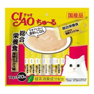 【送料無料、メール便・定形外郵便、同梱不可】チャオ CIAO 猫用 ちゅ〜る 総合栄養食 とりささみ 海鮮ミックス味 SC-200(14g×20本) ebisupet