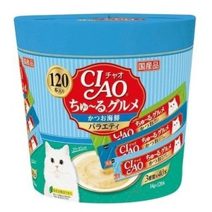 いなばペットフード チャオ CIAO 猫用 ちゅ〜る グルメ かつお海鮮バラエティ SC-212(14g×120本)×1個 猫用おやつ ebisupet