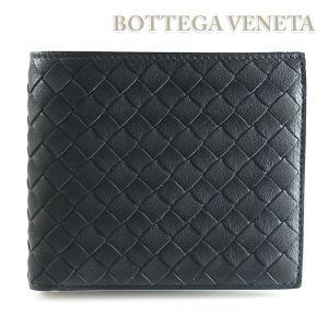 ボッテガ ヴェネタ BOTTEGA VENETA 二つ折財布 イントレチャート 編み込み ブラック/アイボリー 193642 VBD51 1185|ebsya