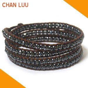 チャンルー CHAN LUU ブレスレット ブレス ラップブレスレット BS1289 ヘマタイト×ブラウンレザー レザーブレスレット|ebsya