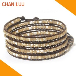 チャンルー CHAN LUU ブレスレット ブレス BS1289 ナチュラルマザーオブパール×ブラウンレザー チャンルー ブレスレット|ebsya