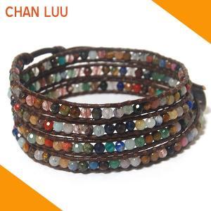 チャンルー CHAN LUU ブレスレット ブレス BS1289 マルチストーン×ブラウンレザー チャンルー ブレスレット|ebsya